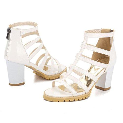 de 34 de Blanco de colores las Sandalias Bombas del pie dedo verano de de 4 43 altos gran Bombas romanos de de tamaño GAOLIXIA PU mujeres moda tacones Ap74xwq55