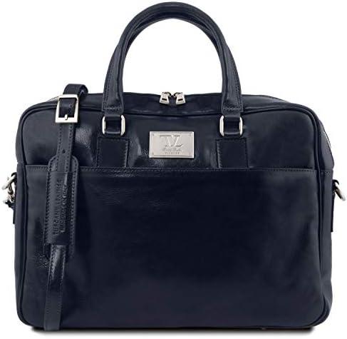 Bleu fonc/é Urbino TL141241 Cartable en cuir porte ordinateur avec poche frontale Tuscany Leather