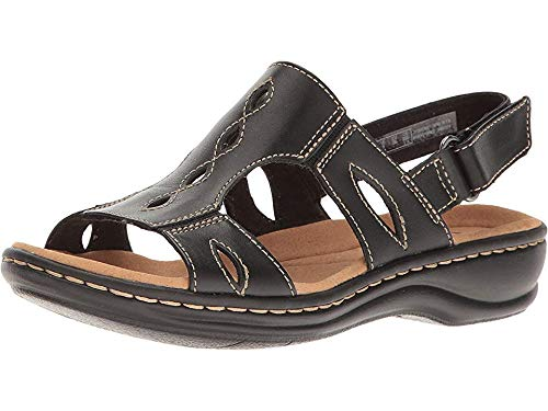 CLARKS Women's Leisa Lakelyn Flat Sandal, Black Leather, 10 W US ()