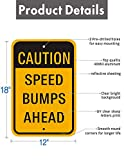 "2-Pack Speed Bumps Ahead Slow Down Sign 18""x12"" .40 Aluminum Rust Free Reflective Metal Sign Weather Resistant UV Coating Professional Print Easy Mounting for Outdoor Use"