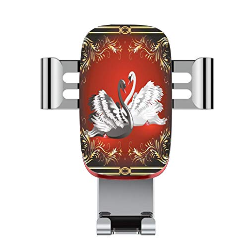 Metal automatic car phone holder,Animal,Black and White Swan Couple Ornamental Framework Romance Grace Tenderness,adjustable 360 degree rotation, car phone holder compatible with 4-6.2 inch ()