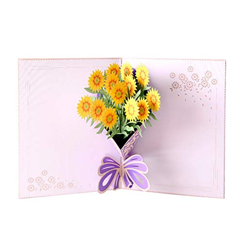 - Mother's Day Cards with Envelope - I LOVE MOM - 3D Pop Up Greeting Cards for Mom's Birthday (sunflowers)
