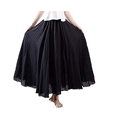 NREALY Falda Women's 3/4 Bohemian Style Elastic Waist Band Cotton Linen Long Maxi Dress Skirt