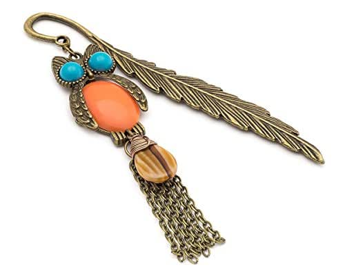 Adorable owl and Czech glass drop brass feather metal bookmark 4.5in
