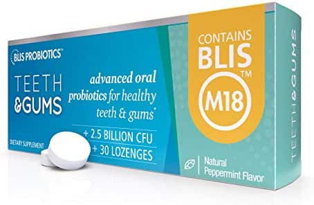 BLIS Teeth & Gums Oral Probiotics for Mouth - Most Potent BLIS M18 Formula Available, 2.5 Billion CFU - Mouth Probiotic for Tooth and Gum Health, Adults and Kids - Sugar-Free Lozenges, 30 Day Supply