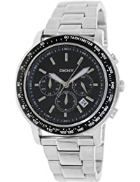 DKNY Men's NY1477 Silver Stainless-Steel Quartz Watch with Black Dial