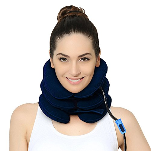 (P PURNEAT Cervical Neck Traction Device – Instant Pain Relief for Chronic Neck and Shoulder Pain – Effective Alternate Pain (Blue,1pcs))