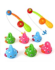 Bath Toys for Toddlers Kids Bathtub Fun Toys Fishing Game with Cute Spotted Fish and Fishing Rod, Christmas Toys Gifts for Boys Girls Children - Color Random