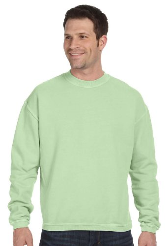 (Authentic Pigment Pigment-Dyed Ringspun Cotton Fleece Crew, Small, Celery)