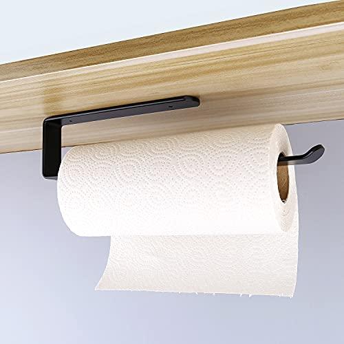 MURISE Paper Towel Holder, Adhesive Paper Towel Holder Under Cabinet, Aviation Aluminum - Anti-Rust & Anti-Scratch, 12.5 Inch (Black)