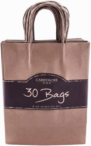 Brown Gift Craft Small Paper Bags with Twisted Rope Handles Birthday Party Welcome Baby Shower Wedding Favor Kraft Bag Bulk Reusable Merchandise Wholesale Retail Shopping Bags 8x4.8x10.5 Inches 30 pcs