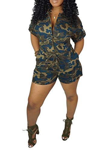 Yeshire Women's Sexy V Neck Camo Print Short Sleeve Drawstring Side Pockets Rompers Jumpsuits Clubwear XXX-Large Blue ()