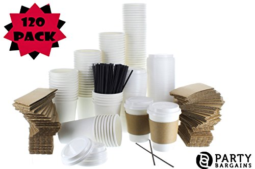 {120 COUNT} JUMBO Pack White Coffee Cups | Insulated Disposable Hot Cups with Lids, Sleeves & Stirrers for Tea, Chocolate | Perfect for To-Go Travel Mug, Parties and More | Size 12 Ounce | 120 Sets (Jumbo White Coffee Cups)