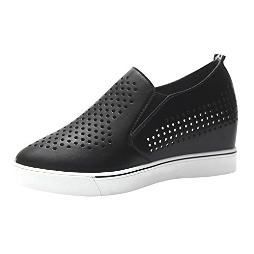 Yukong Womens Ladies Hollow Out Mid Wedge Heel Shoes Slip-On Round Toe Thick Bottom Casual Sneakers Black