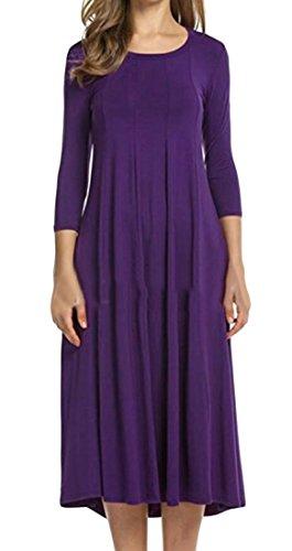 Col Rond De Mode Féminine Domple Plissé Balançoire Solide 3/4 Manches Longues Robe Violette