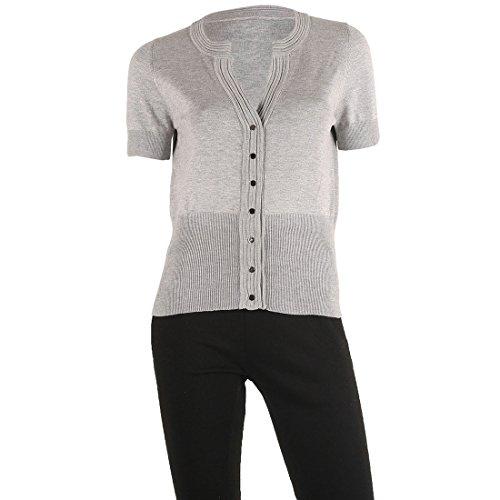 Short Sleeve Ruffle Cardigan (Women's 'Fine Gauge ' Basic Ribbed Stretch Cardigan Sweater,Silver Spring,L)