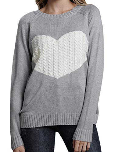 Women's Casual Pullover Sweater Crew Neck Long Sleeve Heart Pattern Patchwork Knits Sweater Jumper Sweater Tops ()