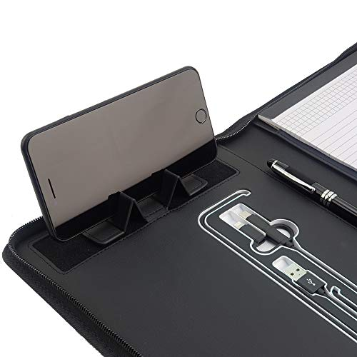 Phone Charging Business & Travel Portfolio w/Built-in Power Bank- Zipper Closure & Refillable Pad- Professional Organizer Padfolio That Charges Phones/Tablets on The Go (Black) (Best Gifts For Business Owners)