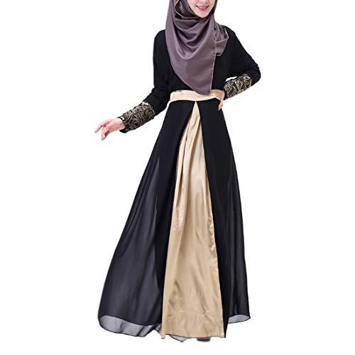 Aiweijia para mujer túnica de gasa empalme vestido de doble capa de manga larga bordado vestido dorado vestido de fiesta...
