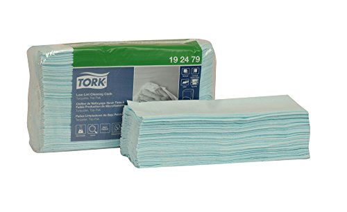 Tork 192479 Low-Lint Cleaning Cloth, Top-Pak, 1-Ply, 13.5'' Width x 16.4'' Length, Turquoise (Case of 5 Packs, 100 per Pack, 500 Wipers per Case) Can be used with Tork 207328, 654021 or 6540281 by Tork (Image #3)