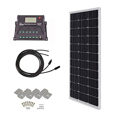 100w Kit - HQST 100 Watt 12 Volt Monocrystalline Solar Panel Kit with 30A PWM LCD Display Charge Controller
