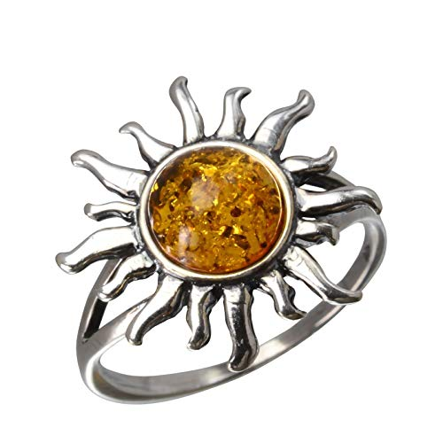 (HolidayGiftShops Sterling Silver and Baltic Honey Amber Sun Ring Size:)