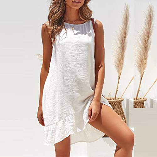 Summer Dresses for Women Casual O-Neck Ladies Solid Color Buttons Casual Mini Dress(White,M) by yijiamaoyiyouxia Dress (Image #2)
