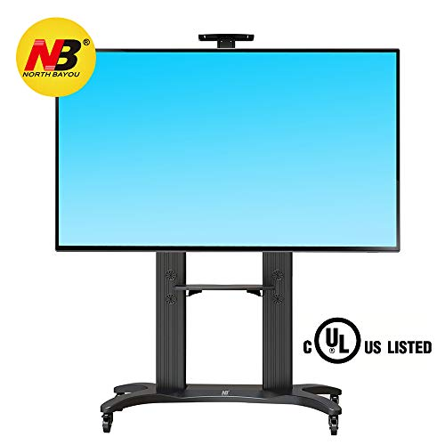 North Bayou Mobile TV Cart TV Stand with Wheels for 55 to 80 Inch LCD LED OLED Plasma Flat Panel Screens up to 125lbs AVF1800-70-1P Aluminum (Black)