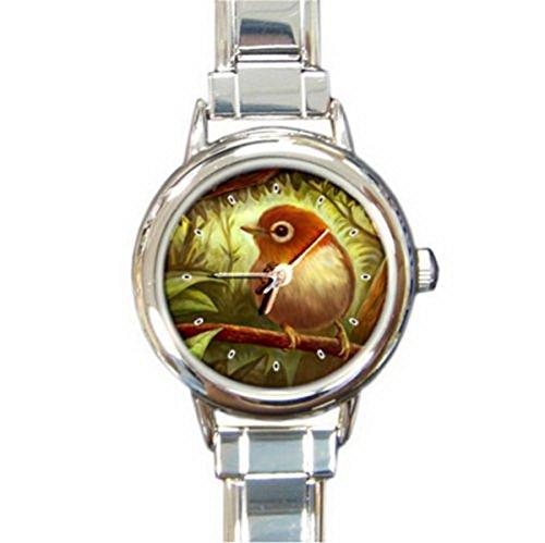 DIB148Reddish portrait bird Italian charm wrist (Bird Italian Charm Watch)