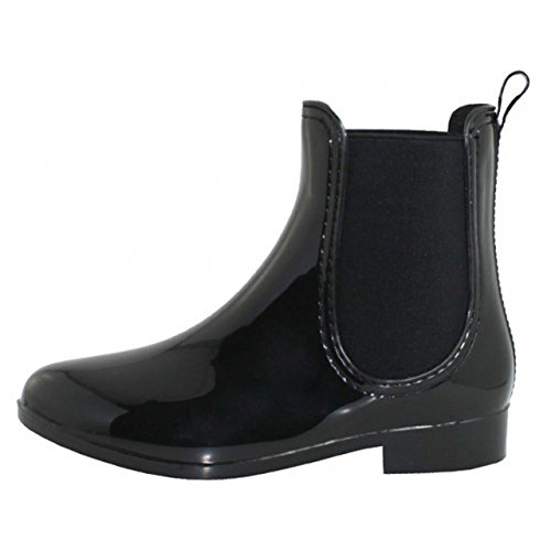 TradingBuzz Let IT Rain OR Pour! Keep your feet dry with These Amazing Easy On/Off Women's 100% Waterproof Chelsea Rain Boots (Black) 7stF94O