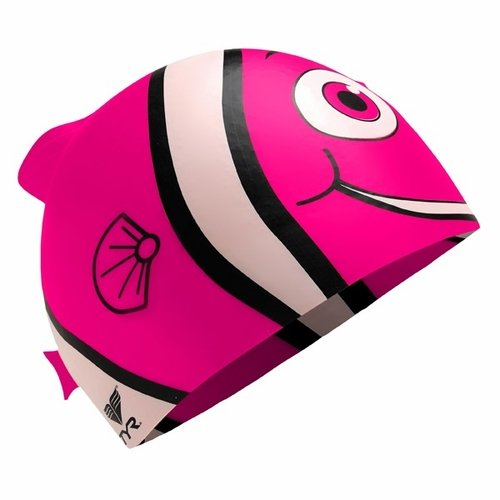 (TYR Sport INC Junior Happy Fish Silicone Swim Cap, Pink)