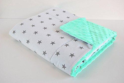 babees© de Minky Couverture 75x 60+ taie d'oreiller 35x 30Coton peluche [étoiles Blanc + Menthe] SELLIT