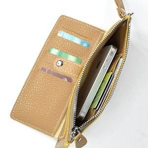 KLOUD City ® Light Brown synthetic leather leechee pattern women wallet with an outer pocket