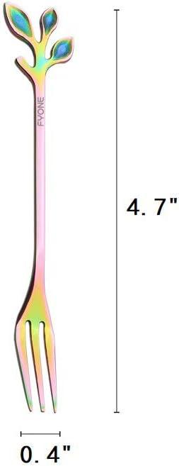 little spoons Can be used as coffee spoon ice tea spoon teaspoon Set of 8,Two Different Lengths sugar spoon etc. Rainbow stirring spoon Stainless Steel Flower Spoon