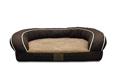 AKC Sweet Dreams Jumbo Quilted Orthopedic Pet Sofa Couch Bed with Bolster Sides, Machine Washable, Ideal For Medium Size Breeds