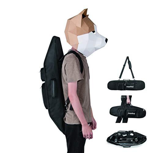 Maxfind Waterproof Skateboard Oxford Fabric PVC Backpack Cruiser Carry Bag Handy Handbag for 27inch Skateboard