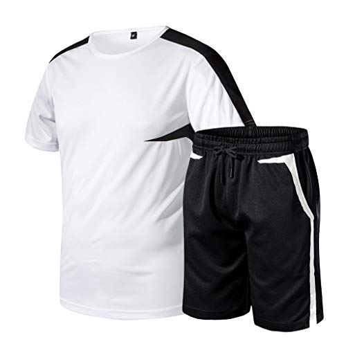 (Beautyfine Summer Sets for Men Big Yards Patchwork Printed Casual Sport Short Sleeved Shorts Suit White)