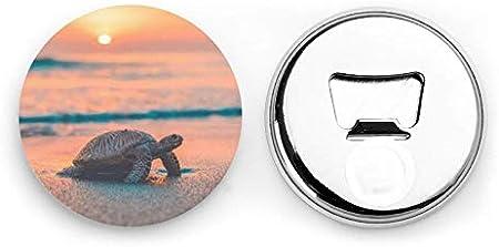 Abridores de botellas redondos con forma de tortuga marina / Imanes de nevera Sacacorchos de acero inoxidable Etiqueta magnética 2 piezas