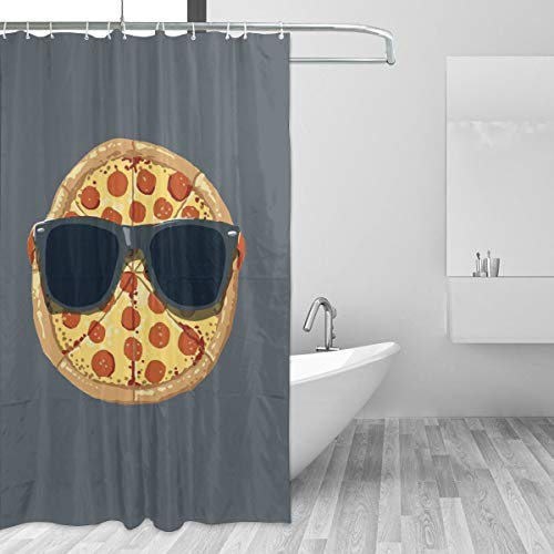 Warm-Tone Art Pizza Meeting Shower Curtain Stylish and Individual Bathroom Curtain Decoration with Hooks - 60x72 Inches -