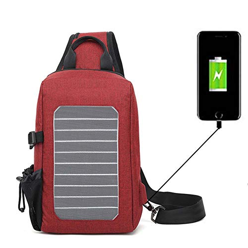 HUIIT 5V Outdoor Solar Charging Messenger Bag Shoulder Bag Convenient Mobile Phone Charge Chest Bag for Men and Women,Red