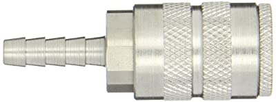 """Dixon Valve 2FS2-S Stainless Steel 303 Manual Industrial Interchange Pneumatic Fitting, Socket, 1/4"""" Coupler x 1/4"""" Hose ID Barbed"""