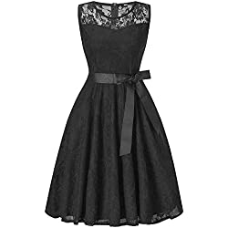 DEATU Bridesmaid Lace Dress Women Sleeveless/Long Sleeve Formal Ladies Wedding Bridesmaid Lace Long Dress(F-Black,XL)