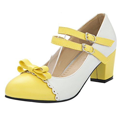 YE Women's Classy Mary Jane Double Ankle Strap Almond Toe Block Heel Court Shoes with Bow Yellow CEwkii