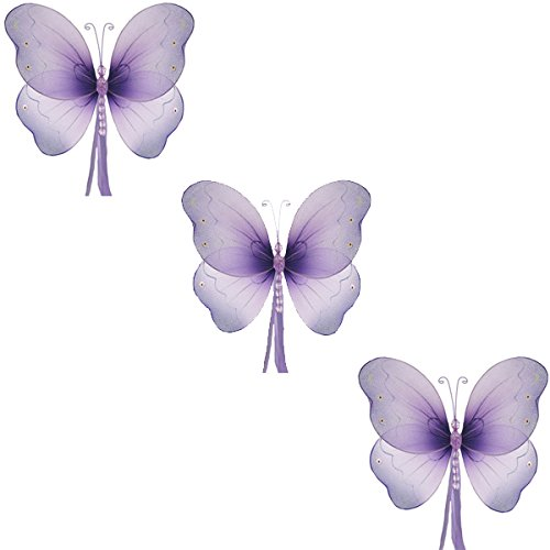 Purple Butterfly Nursery Decorations (The Butterfly Grove Briana Mesh/Nylon 3D Hanging Decoration, Purple Small/5