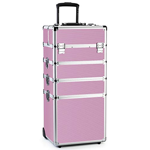 OUDMAY by means of Amazon - Makeup Train Case 4 in 1 Professional Cosmetics Rolling Organizer Aluminum Frame and Folding Trays Pink