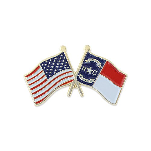 USA and North Carolina Flag Enamel Lapel Pin (1 ()