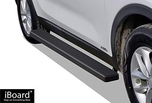APS iBoard Running Boards (Nerf Bars | Side Steps | Step Bars) for 2016-2019 KIA Sorento Sport Utility 4-Door | (Black Powder Coated 5 inches) ()