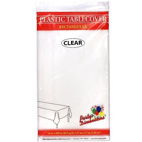 Plastic Party Tablecloths - Disposable, Rectangular Tablecovers - 4 Pack - Clear - By Party Dimensions ()