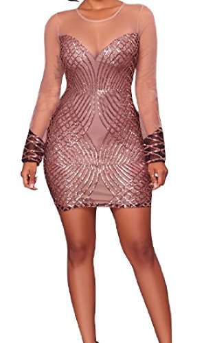 Sexy Sequins Mini Silm Dresses Champagne Fit Nightclub Women Mesh Comfy Splice wxfFI4qFS