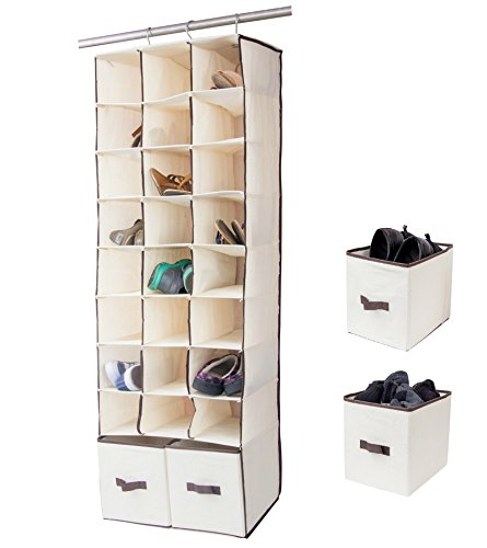 24 Slot Hanging Organizer In Closet Over Rod Shoe Caddy With Foldable Drawers Storage Bag, Space Saving Shoe Rack (Drawer Rod)